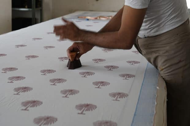 Woodblock printing in India, courtesy Charlotte Moss