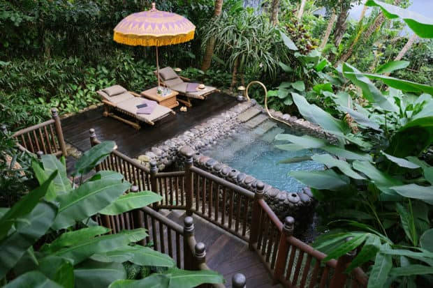 A tropical private plunge pool at the Capella Ubud in Bali, Indonesia