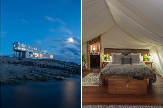 Left: The architectural marvel that is Fogo Island Inn in Newfoundland (photo by Alex Fradkin); right: a cozy tented suite at Clayoquot Wilderness Resort, Canada.