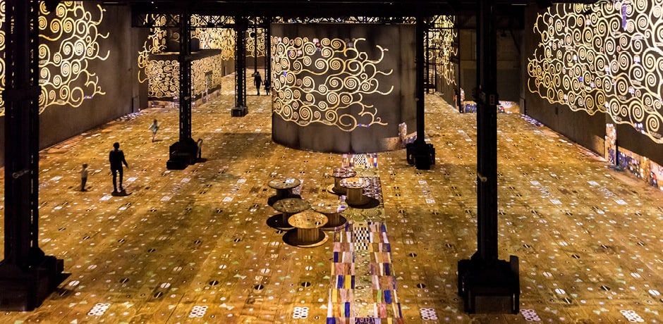 Work from Gustav Klimt's Golden Period at the Atelier des Lumières in Paris. Copyright Culturespaces, courtesy E. Spiller.