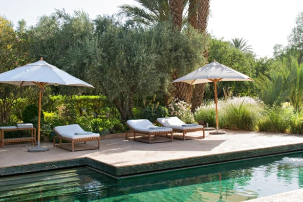 A quiet spot poolside at Dar Ahlam in Morocco. Courtesy Dar Ahlam