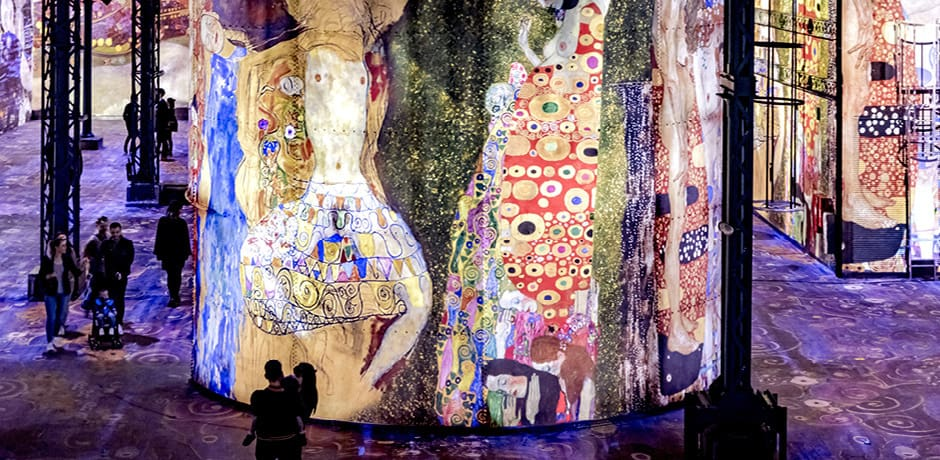 An immersive exhibition of Gustav Klimt's work at the Atelier des Lumières in Paris. Copyright Culturespaces, courtesy E. Spiller.
