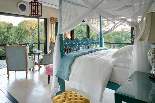 A whimsical bedroom designed by Liz Biden at Royal Malewane in South Africa
