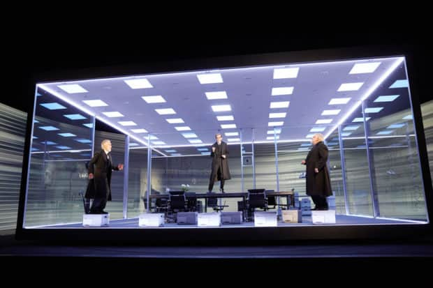 Ben Miles, Adam Godley and Simon Russell Beale in The Lehman Trilogy at the National Theatre. Photo by Mark Douet.