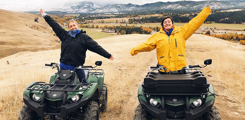 Indagare Trip Designers Caroline Barry and Ashley Davidson ATV-ing in Montana