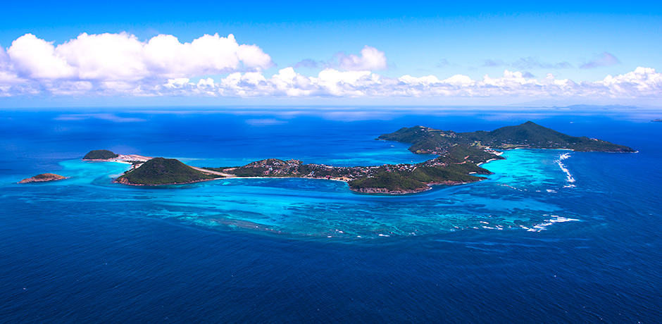 The pristine Canouan Island from above