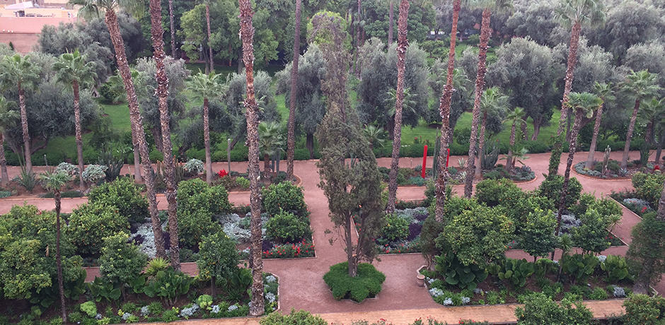 View of the expansive gardens at La Mamounia