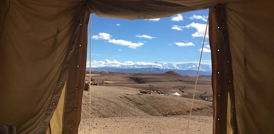 View of the Atlas Mountains from a tented desert camp