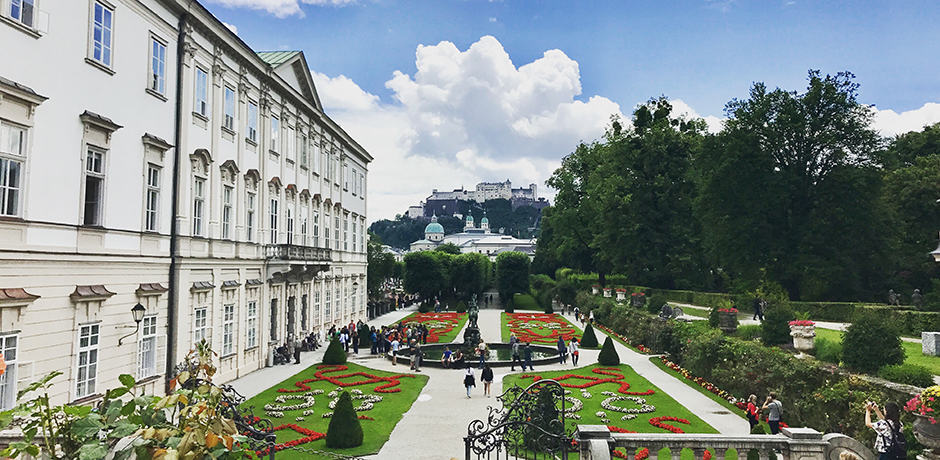 "Add on a visit to Salzburg, Austria after an Alpine getaway to see many sights like this one: the iconic Mirabell Park & Garden, which is famously known as the backdrop to Sound of Music's ""Do Re Mi."""