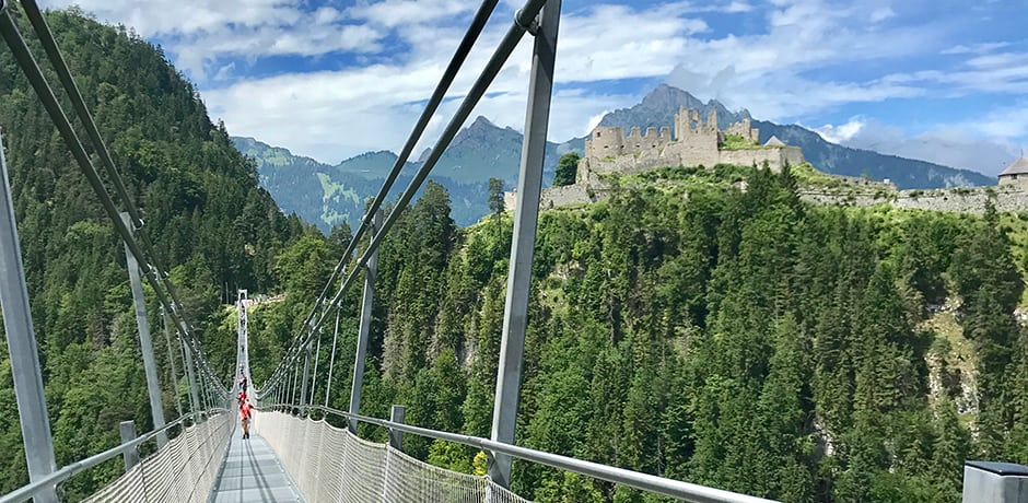 For those who aren't afraid of heights, make sure to cross the Highline 179 Suspension Bridge near the Austrian-Bavarian border that extends at an altitude of 374 feet and connects the Ehrenburg Castle with the ruins of Fort Claudia.