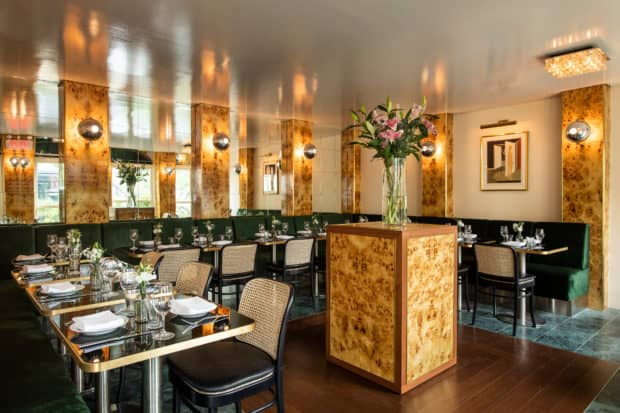 The glamorous interiors of Babs in Manhattan are reticent of a more sophisticated era. Photo by Evan Sung.