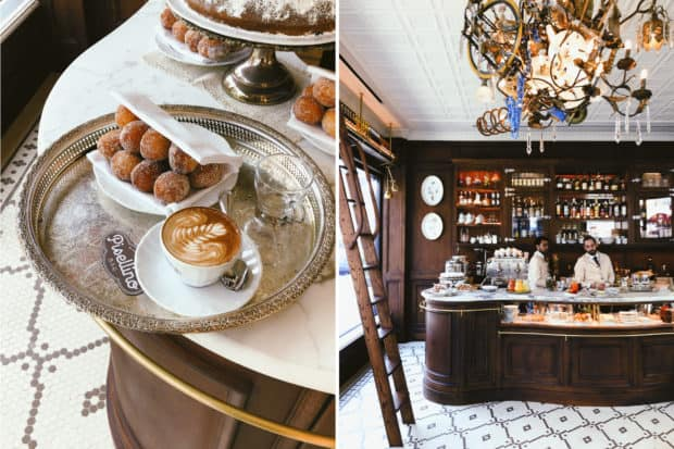Italian-style coffee and bomboloni pastries delight patrons in the morning at Via Carota's new Bar Pisellino, which evolves into aperitivo hour later in the day. Photo courtesy of Bar Pisellino.