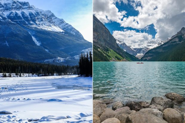 Banff in winter and summer. Courtesy, from left: Ezra Jeffrey and Kevin Noble