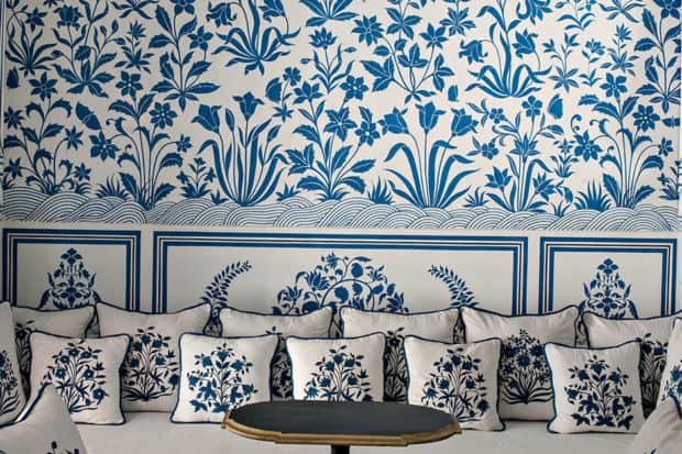 Vibrant wallpaper and fabrics abound at Bar Palladio, Jaipur. Photo by Henry Wilson.