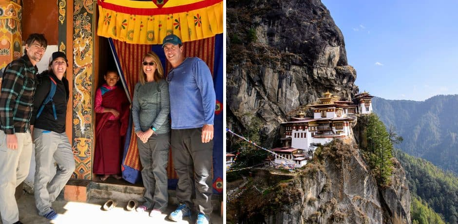 The group in Bhutan; Tiger's Nest monastery