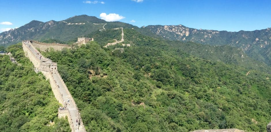 View from Mutianyu at the Great Wall of China, outside of Beijing