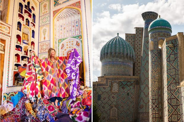 Left: shopping for ikats in Bukhara on the fall 2019 Insider Journey to Uzbekistan with John Robshaw; Islamic architecture at the iconic Registan Square in Samarkand. Photos by Rachel Robshaw