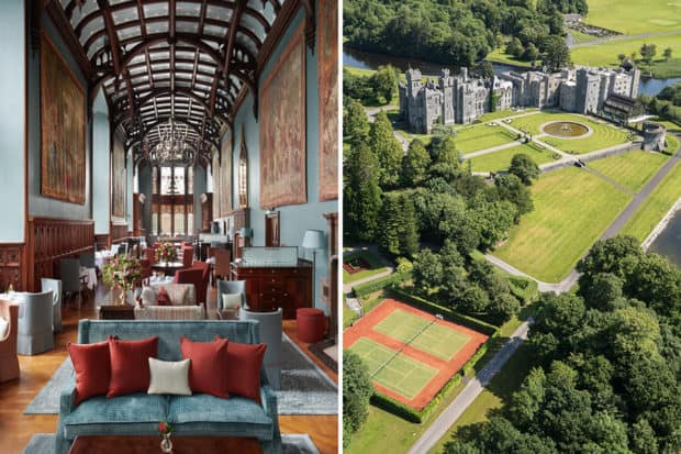 The Minstrel's Gallery at Adare Manor; aerial view of Ashford Castle