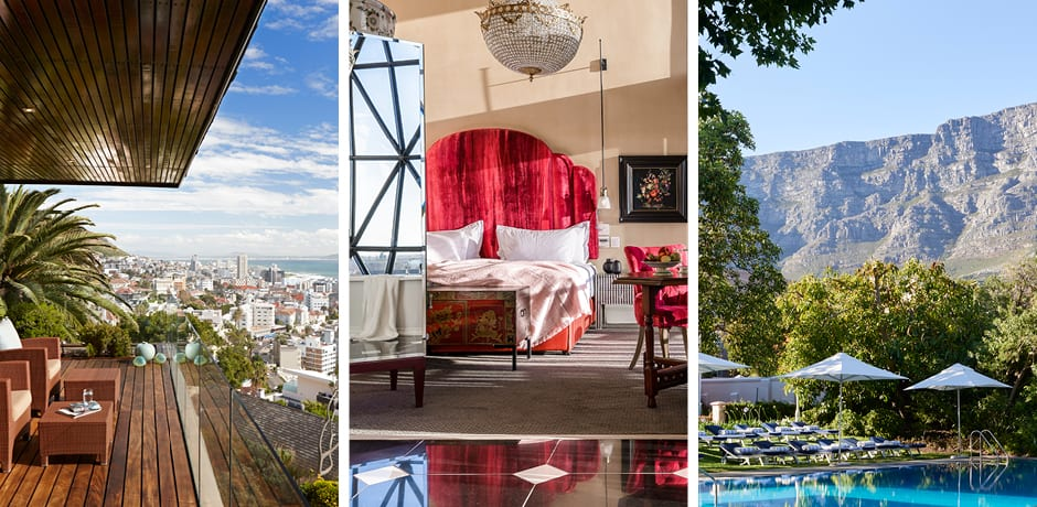An open-air lounge at Ellerman House, a suite at the Silo, outdoor pool at Belmond Mount Nelson