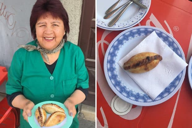 Carmen de Fernandez, owner of Salteñeria Cervantes in Bolivia and a plate of salteña