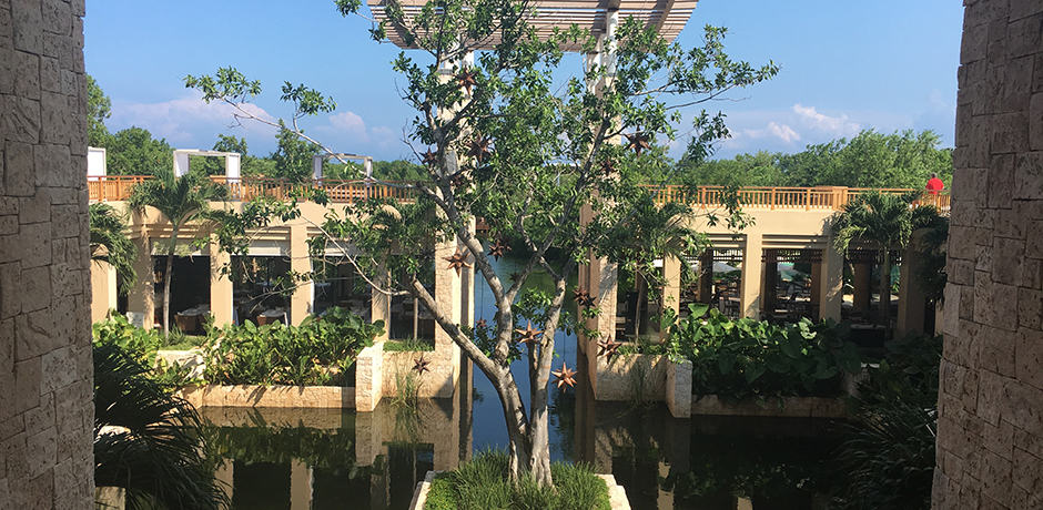 View from the lobby at the Banyan Tree Mayakoba.