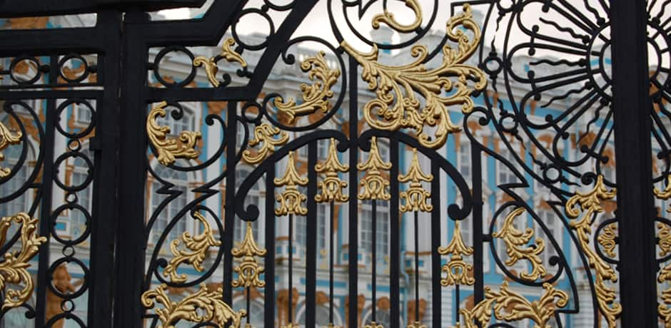 Wrought-iron detailing on the gates of Catherine Palace in St. Petersburg, Russia.
