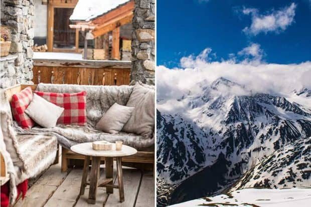 From left: a cozy spot at Chalet Pelerin (courtesy Chalet Pelerin); views of the slopes in the Italian Alps.