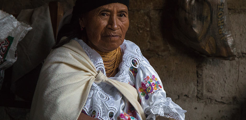 This traditional hat-maker makes about 5 wool hats per week. Each ethnic group of Ecuador wears a unique style of hat.