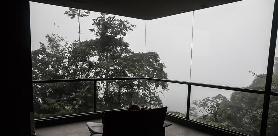 Mashpi Lodge allows for gazing on the rainy weather of the cloud forest from the comfort of the lodge.