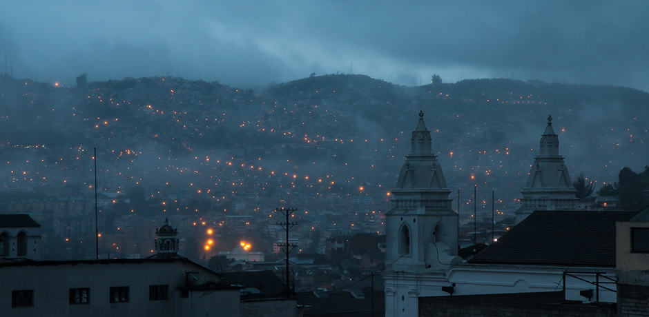 Quito sits at the base of the Pichincha Volcano, which erupted in 1999. Luckily, the ash was blown south, away from the city.