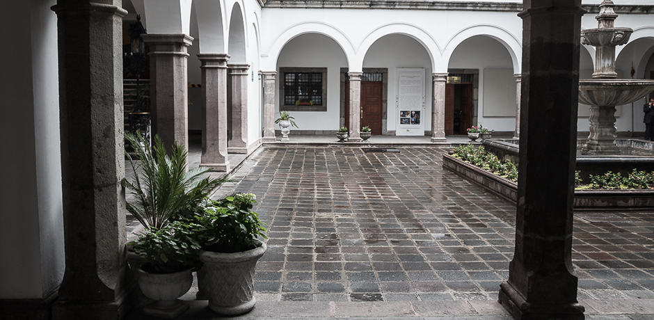 The courtyard of the presidential palace. Gabriel Garcia Moreno, a president of Ecuador, was killed by his wife's lover close to this location.