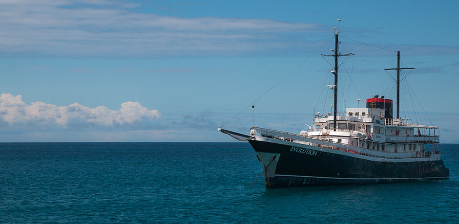 The M/Y Evolution sits in harbor.