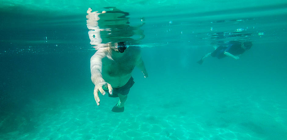 The water of the Galapagos is very clear.