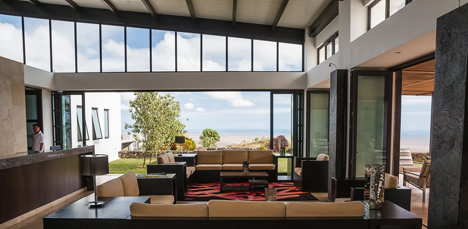 Pikaia Lodge sits in the highlands of Santa Cruz and is positioned in such a way that almost all of the other islands are visible from the property.