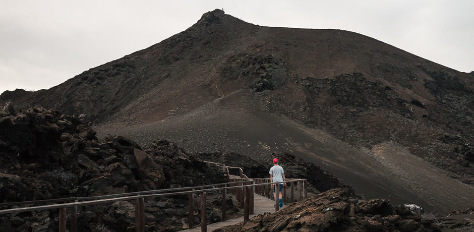 The hike up Bartolomé now follows a boardwalk, as the rising number of tourists were beginning to damage the volcanic landscape.