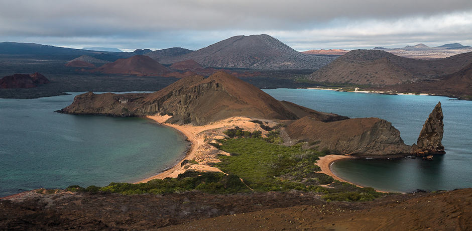 The view from the top of Bartolomé shows off just about every landscape to be found in the islands.