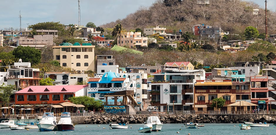 The colorful construction of San Cristobal, one of two larger population centers in the island.