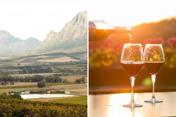 Lake in a valley and red wine being poured into glasses near Cape Town South Africa