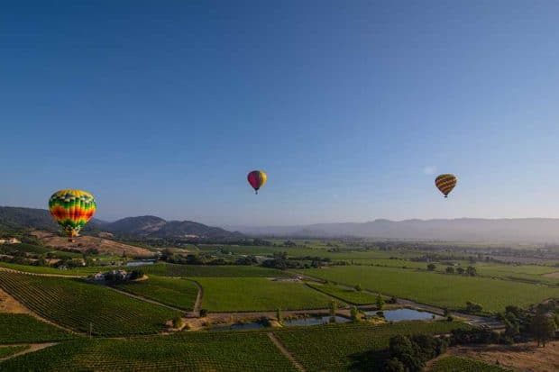 A hot air balloon ride in Napa Valley, courtesy Visit Napa Valley