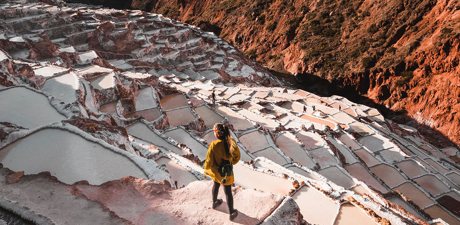 Salt flats can be climbed in Cusco, Peru.