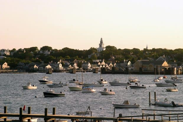 Nantucket water with anchored sailboats