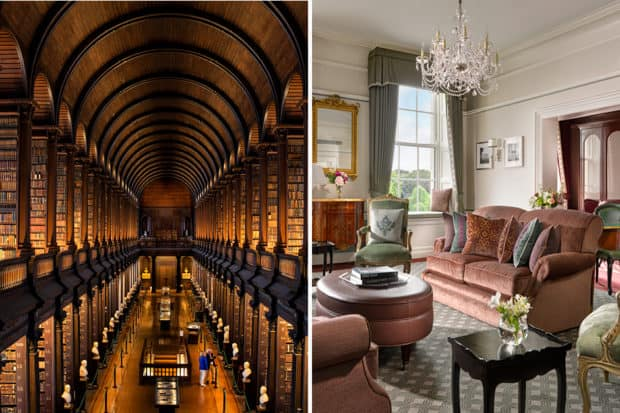 Trinity College Library; the Princess Grace Suite at The Shelbourne