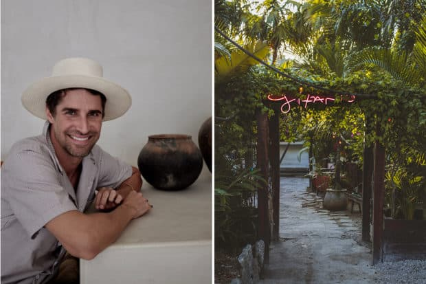 Derek Klein in his new boutique hotel in Tulum town—the first of many to come for the Casa Pueblo brand (photo by Sam Turrell); the entrance to infamous lounge-club Gitano, which Klein founded but has since sold his stake in (photo courtesy of Gitano).