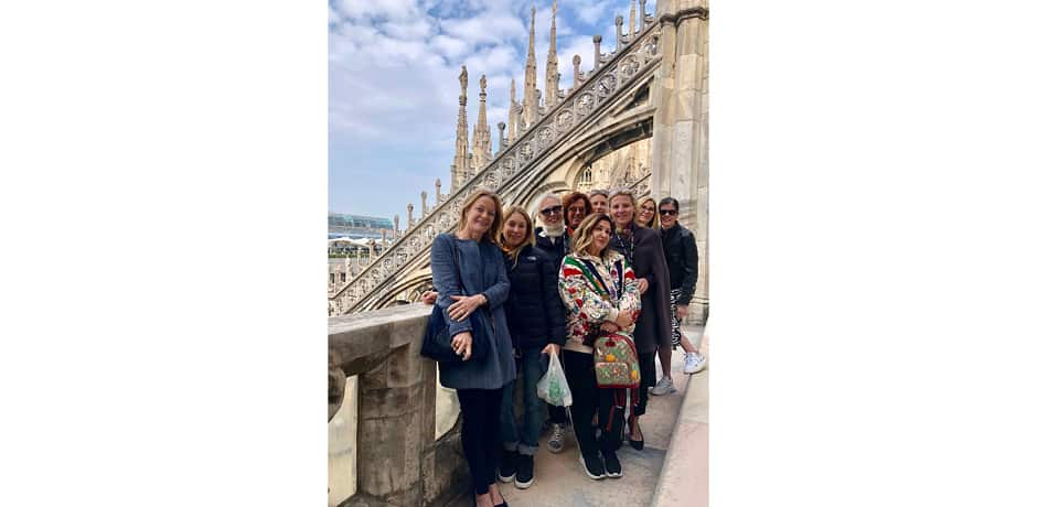Our group on the roof of Milan's famous Duomo, which we accessed on a private tour.