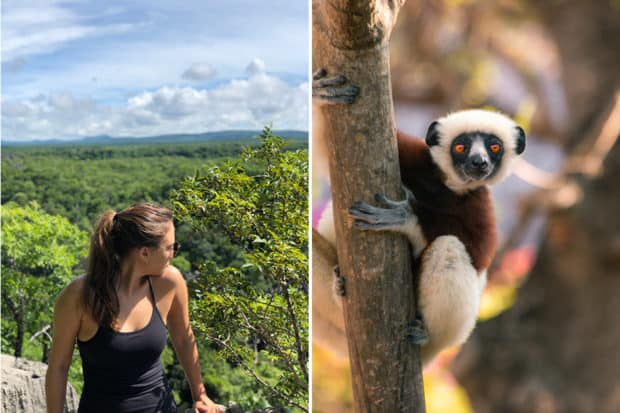 Destinations Editor Emma Pierce hiking while scouting in Madagascar (left); a lemur photographed by Trip Designer Colin Heinrich.