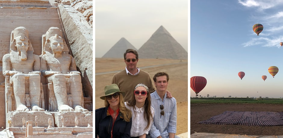 Abu Simbel; Melissa and her family; hot air balloons in Luxor