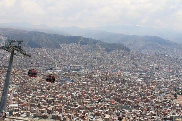 Two cable cars over Paz Bolivia