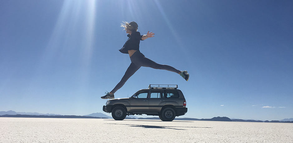 Playing with perspective in selfie-friendly Salar de Uyuni