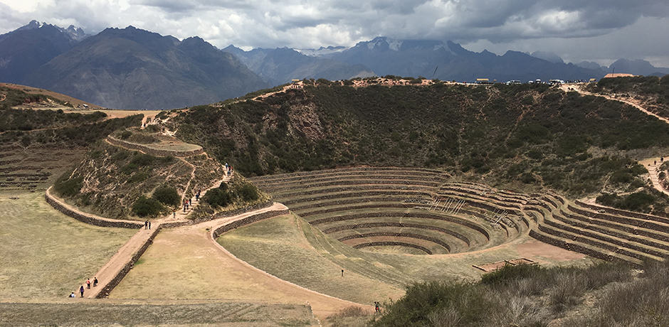 Incan agricultural ruins in the Sacred Valley