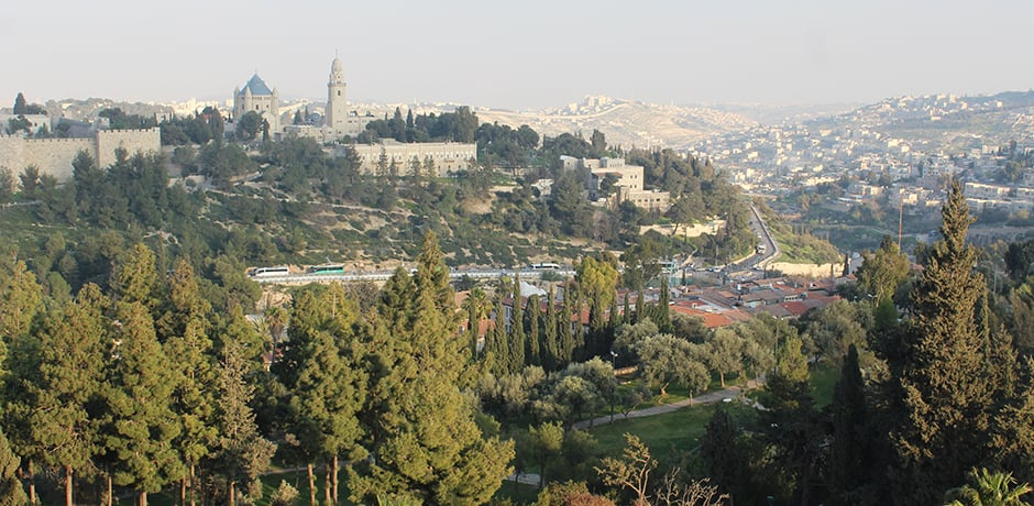 View from the King David Hotel in Jerusalem looking towards the Old City and Mount Zion